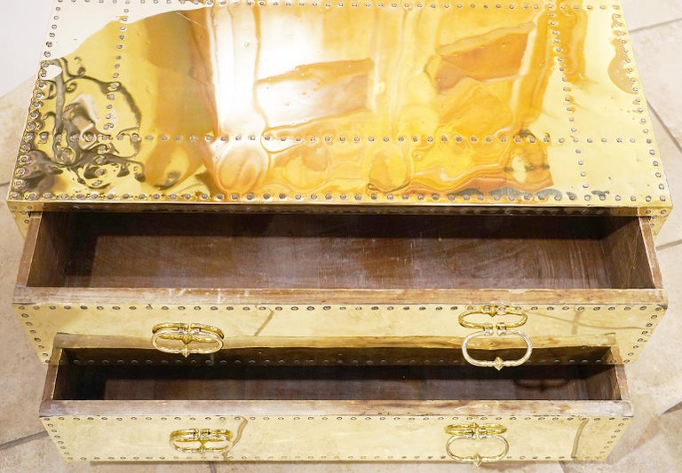 Pair of Versatile Polished Brass Clad Two-Drawer Chests by Sarreid, Spain For Sale 1