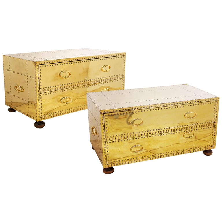 Pair of Versatile Polished Brass Clad Two-Drawer Chests by Sarreid, Spain For Sale
