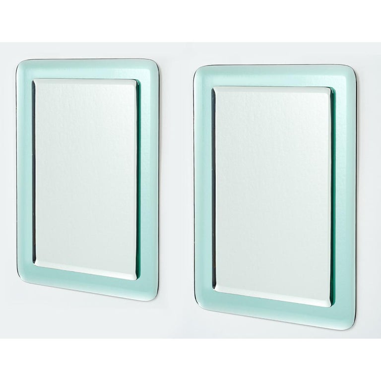 Pair of Vert Nil Reverse Beveled Glass Mirror, Italy, 1970s In Excellent Condition In New York, NY