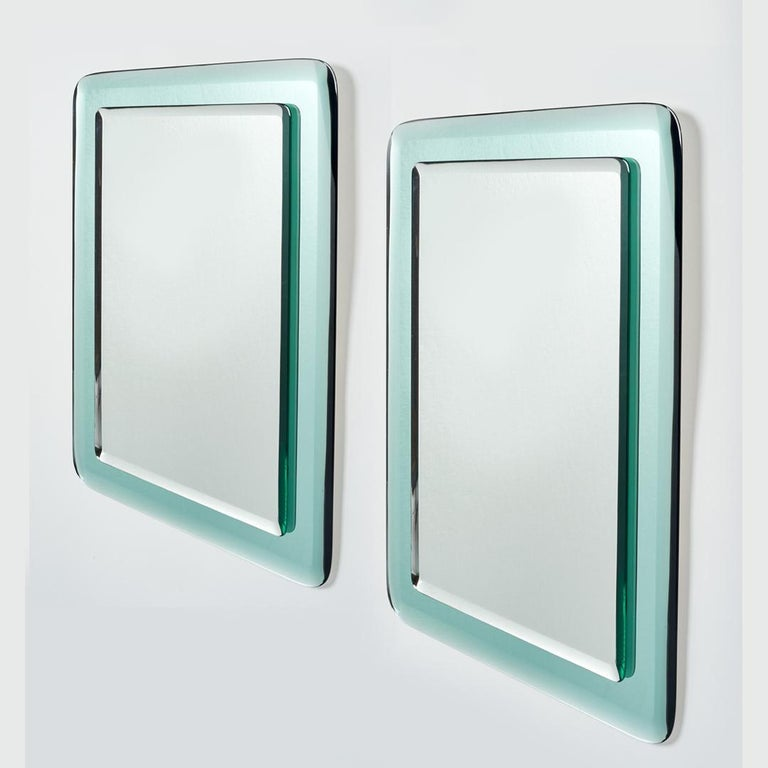 Late 20th Century Pair of Vert Nil Reverse Beveled Glass Mirror, Italy, 1970s