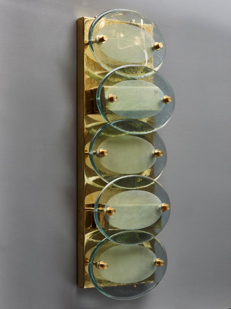 Italian Pair of Vertical Wall Sconces in Brass with Murano Glass Lenses For Sale