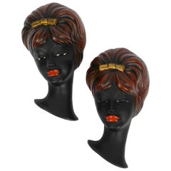 Pair of Very Beautiful Original Midcentury Hand Painted Ceramic Women Faces