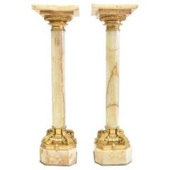 Pair of Very Fine 19th Century Onyx and Gilt Bronze Pedestals