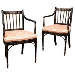 Pair of Very Fine Late George III Paint Decorated Armchairs
