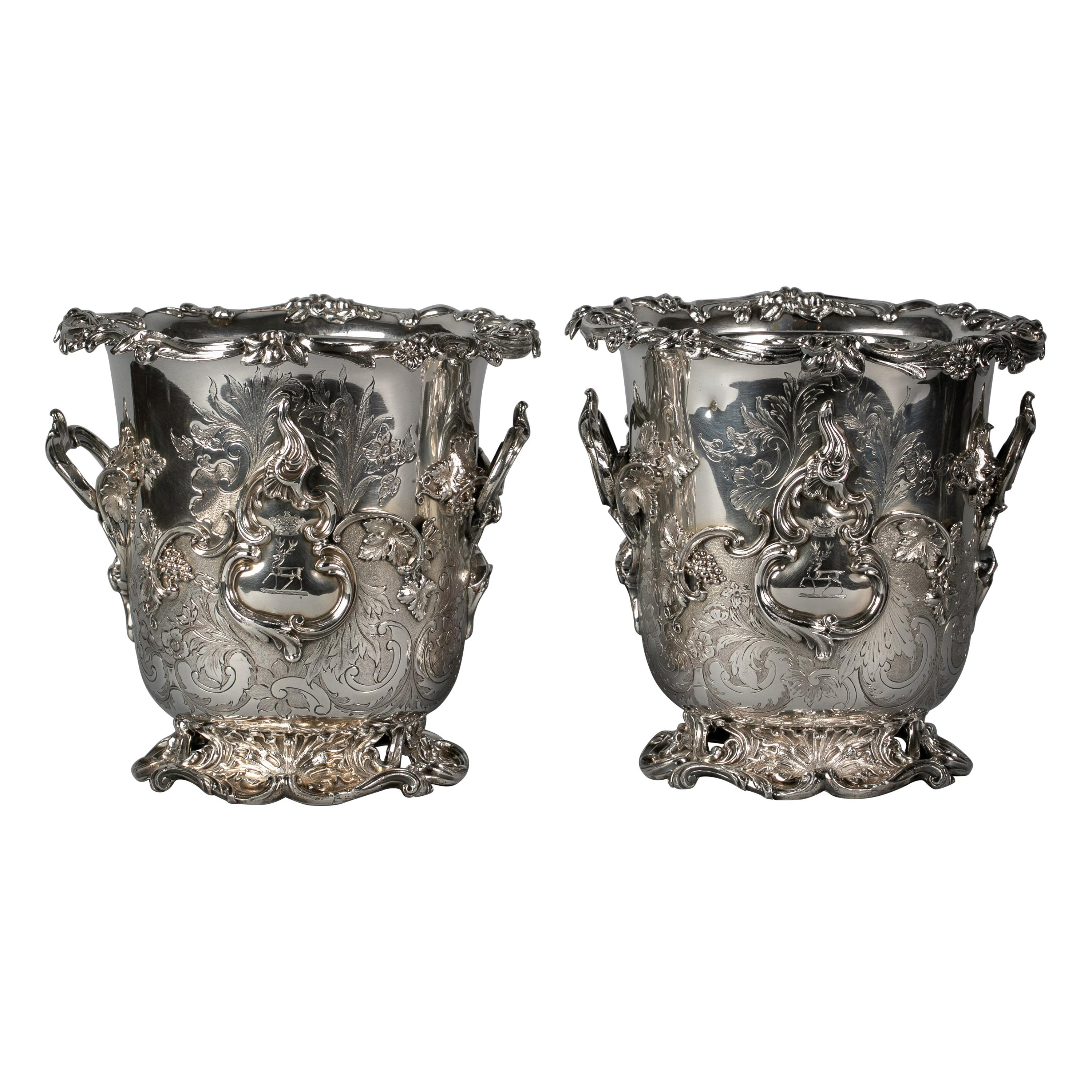 Pair of Very Fine Old Sheffield Wine Coolers, circa 1825
