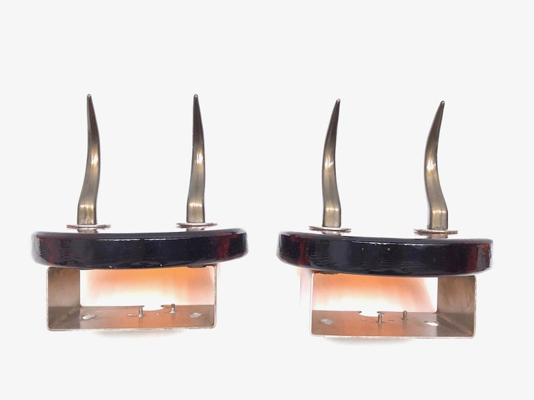 Pair of Very Heavy Textured Glass & Metal Cow Horn Mid-Century Modern Wall Hooks For Sale 6