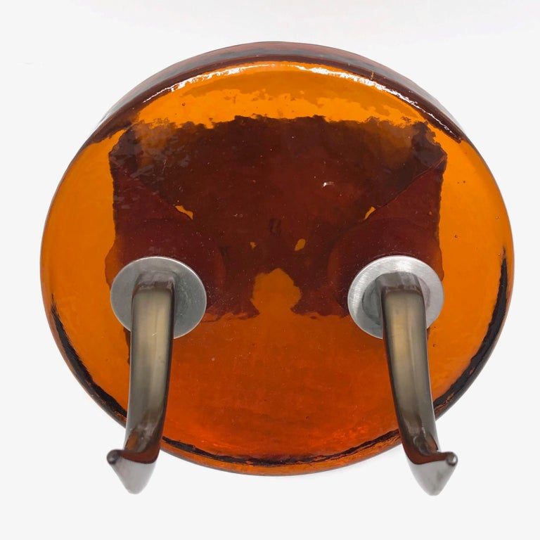 Late 20th Century Pair of Very Heavy Textured Glass & Metal Cow Horn Mid-Century Modern Wall Hooks For Sale