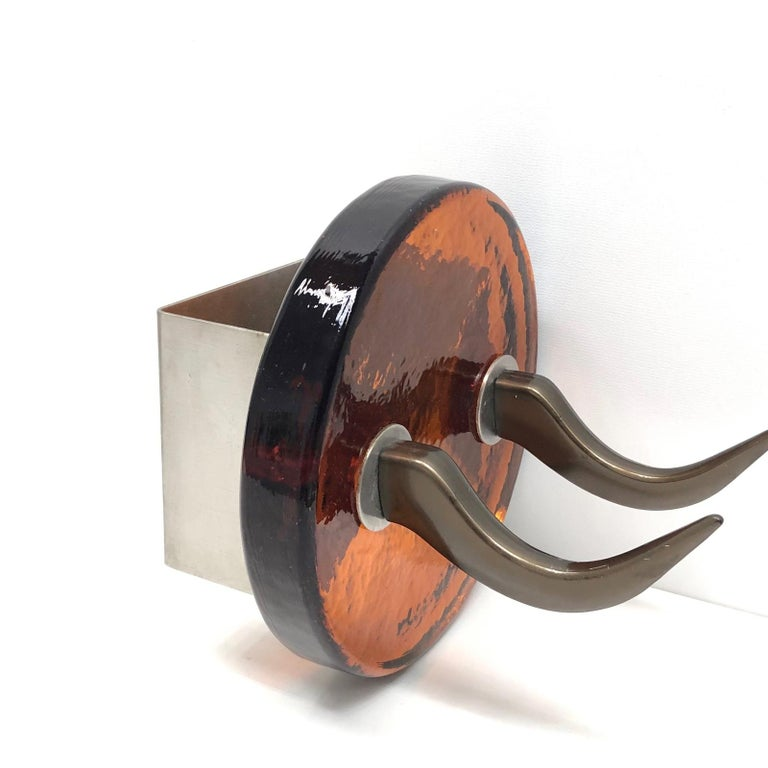 Pair of Very Heavy Textured Glass & Metal Cow Horn Mid-Century Modern Wall Hooks For Sale 2