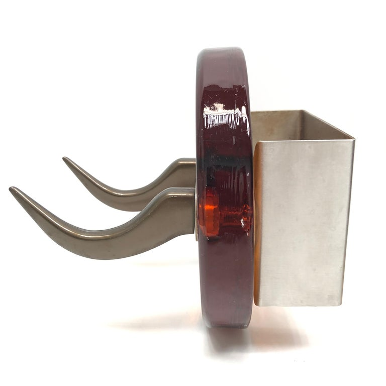 Pair of Very Heavy Textured Glass & Metal Cow Horn Mid-Century Modern Wall Hooks In Good Condition For Sale In Nürnberg, DE