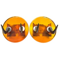 Pair of Very Heavy Textured Glass & Metal Cow Horn Mid-Century Modern Wall Hooks