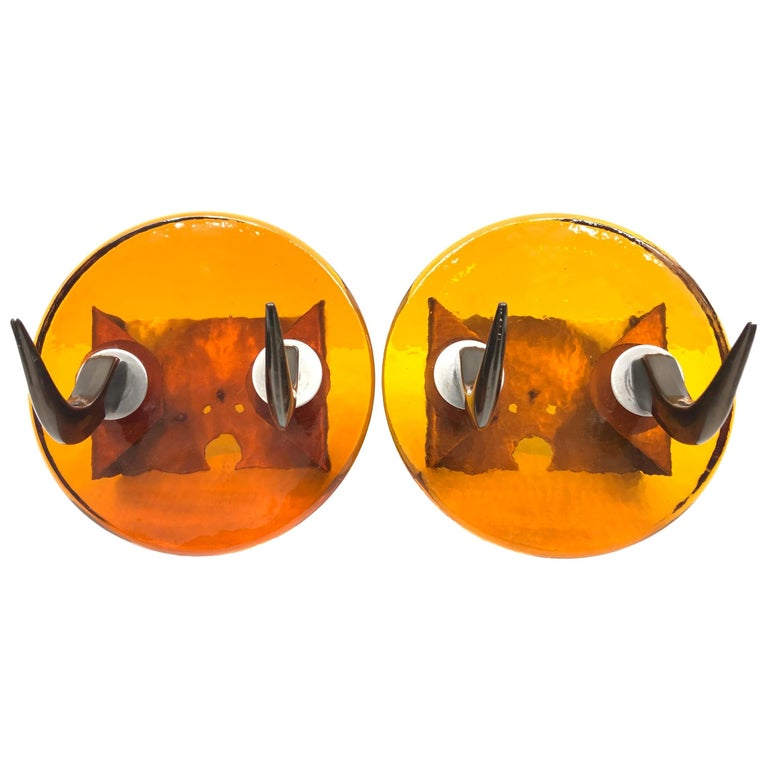 Pair of Very Heavy Textured Glass & Metal Cow Horn Mid-Century Modern Wall Hooks For Sale
