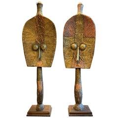 Pair of Very Large Bakota 'Kota' Funerary Figure from Gabon, Africa