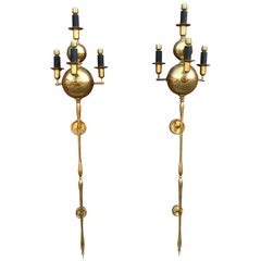 Pair of Very Large Brass Sconces, circa 1950