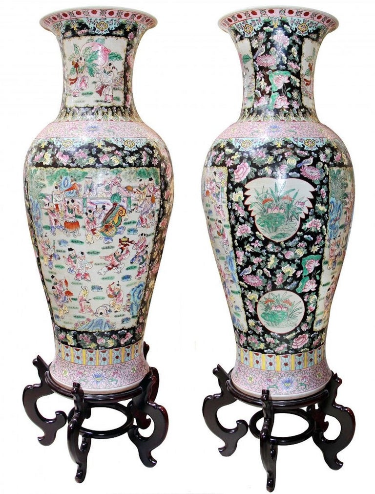 Pair of Very Large Chinese Famille-Noir Porcelain Vases In Good Condition For Sale In Palm Beach, FL