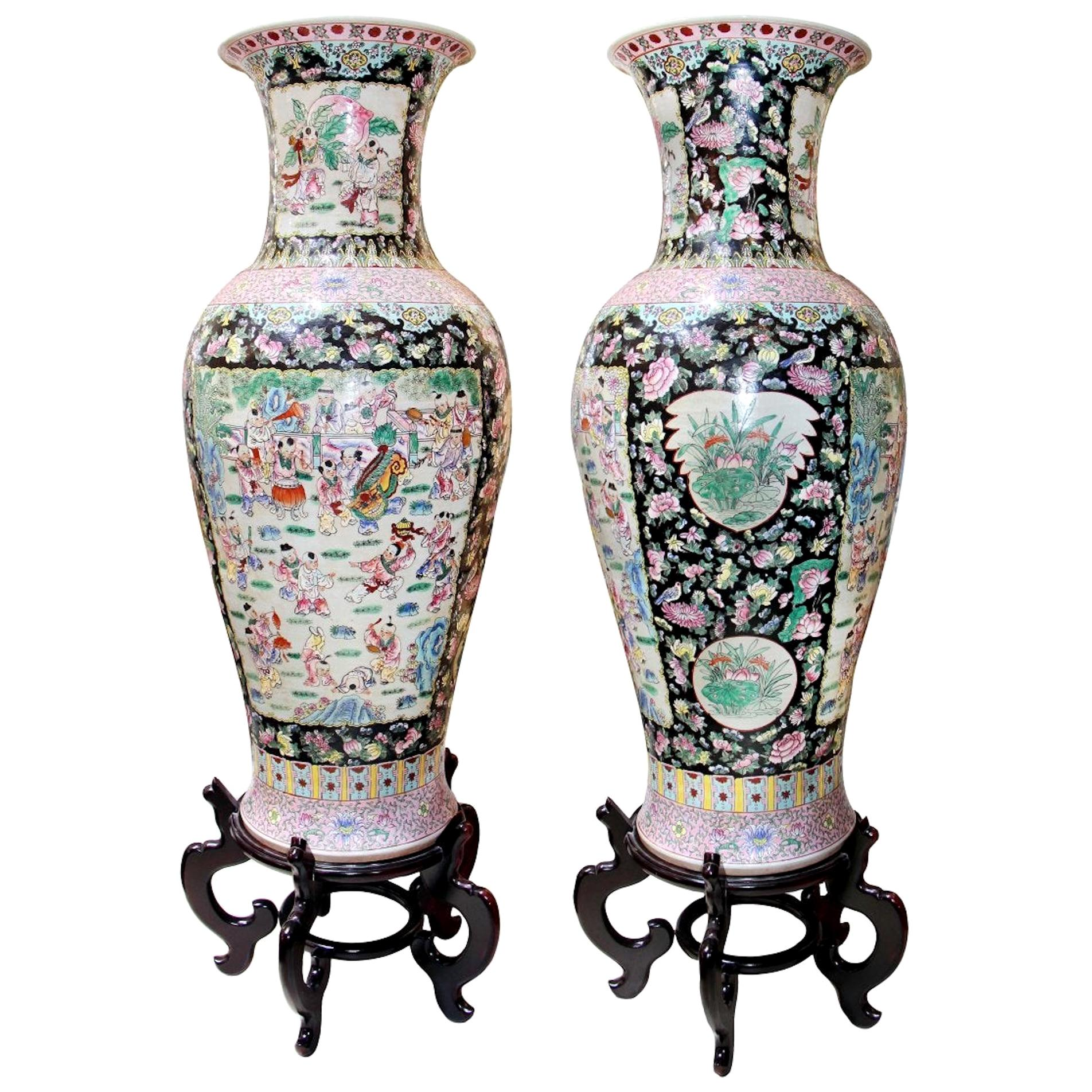 Pair of Very Large Chinese Famille-Noir Porcelain Vases
