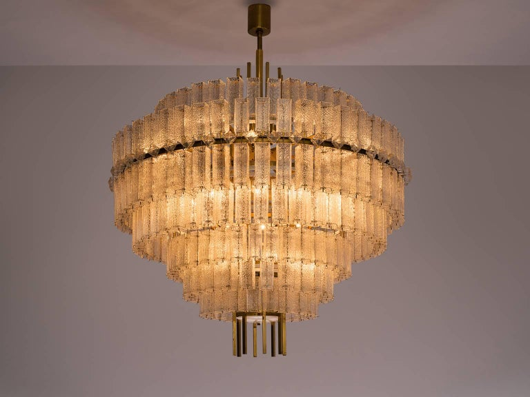 Chandelier, in glass and brass, Europe, 1970s. 