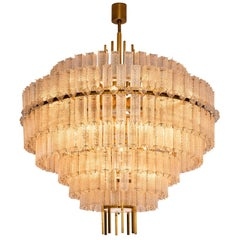 Pair of Very Large Circular Chandelier in Brass and Structured Glass