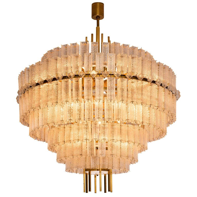 Pair of Very Large Circular Chandeliers in Brass and Structured Glass For Sale