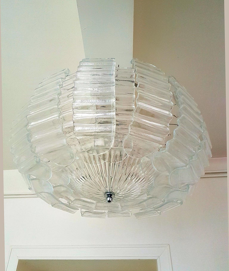 Hand-Crafted Pair of Very Large Clear Murano Glass Mid-Century Modern Chandeliers by Barovier For Sale