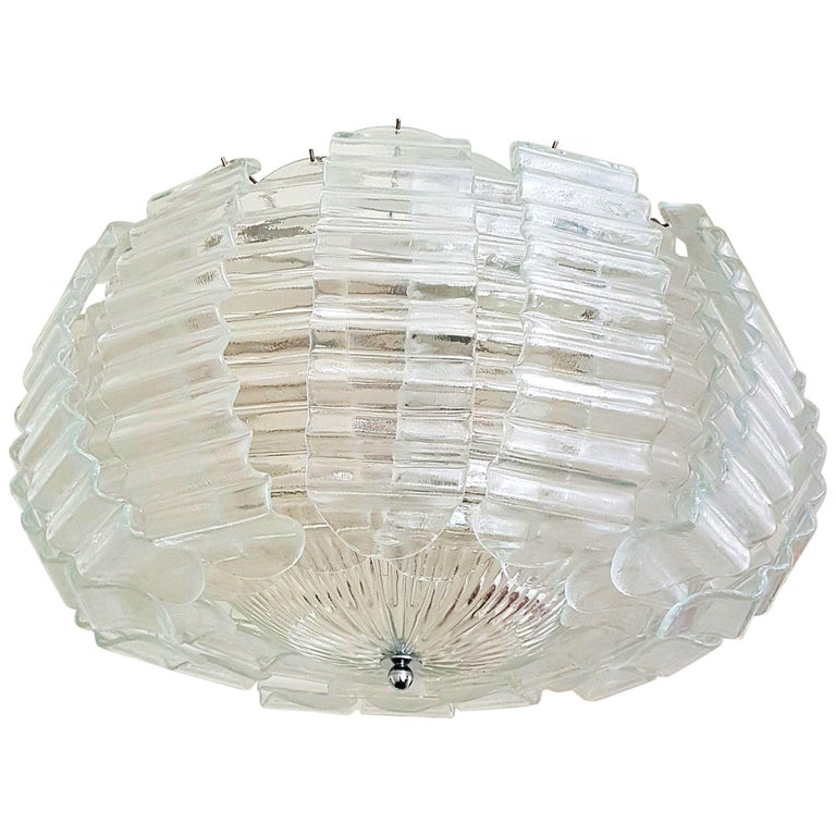 Pair of Very Large Clear Murano Glass Mid-Century Modern Chandeliers by Barovier For Sale
