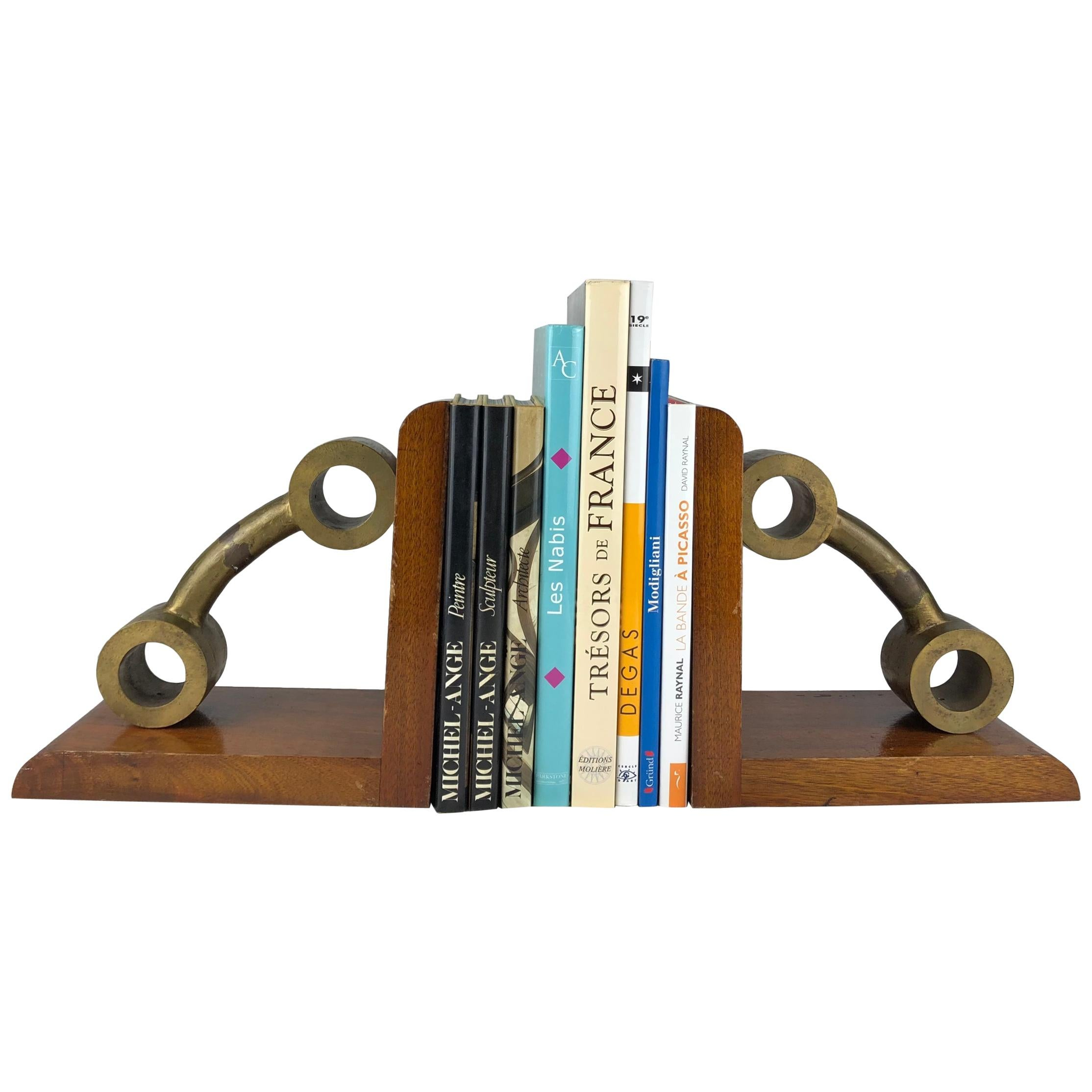Pair of Very Large French Art Deco Bronze and Mahogany Bookends