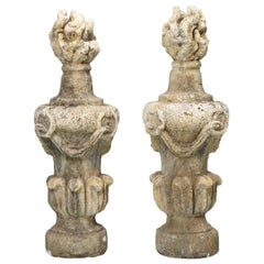 Pair of Very Large Hand-Carved Flame Stone Finials, Early 1800's from England