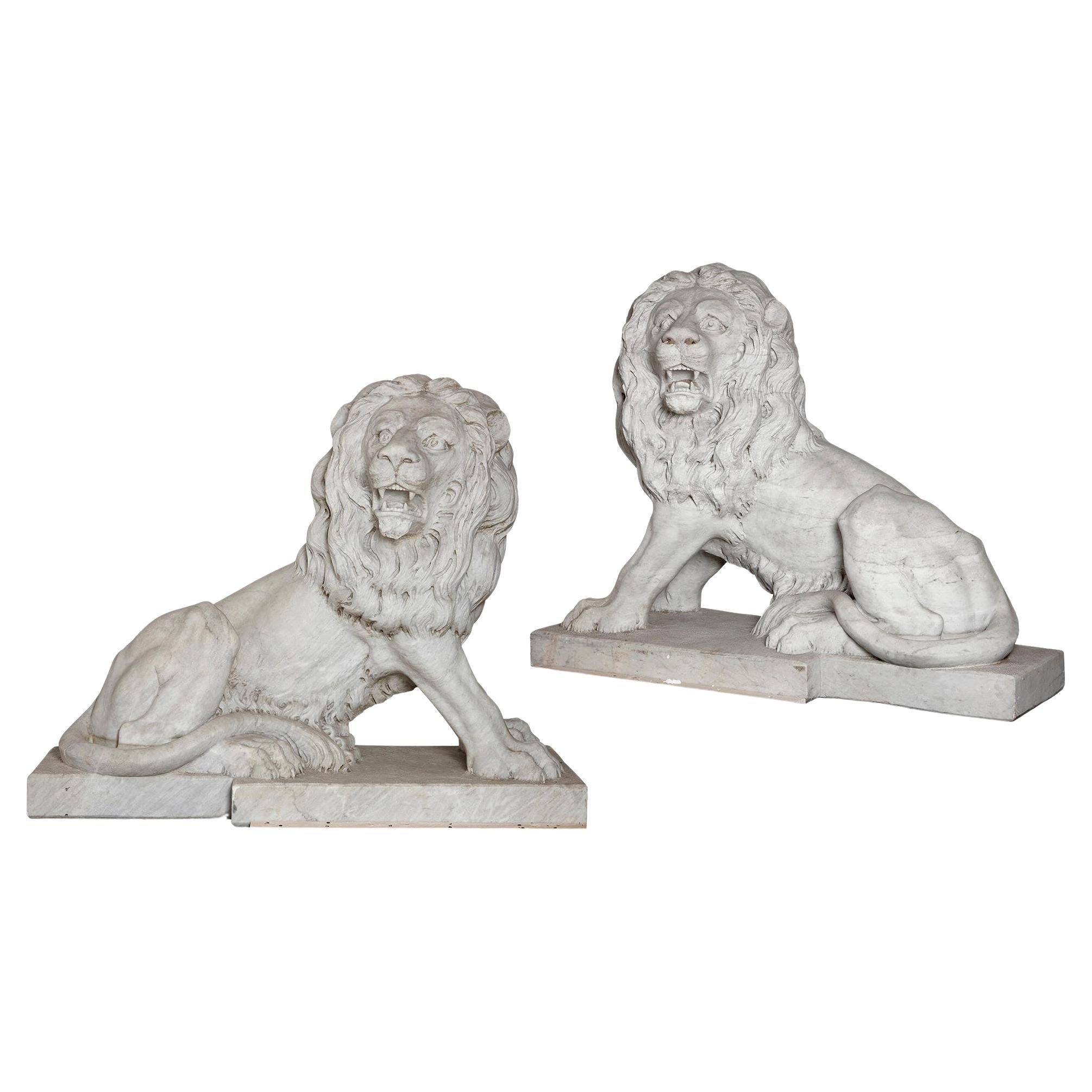 Pair of Very Large Italian Marble Sculptures of Lions