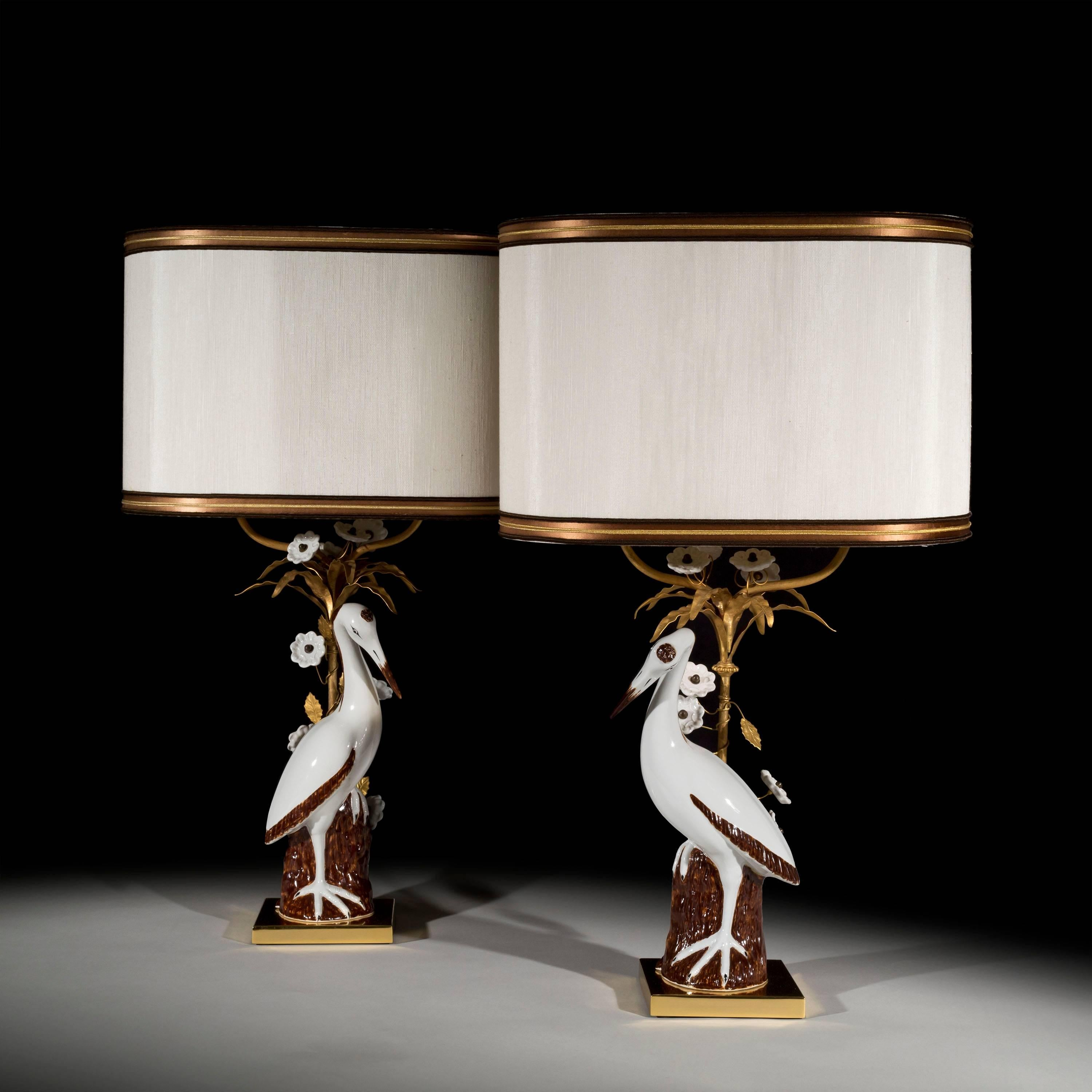 Italian Midcentury Pair Of Large Porcelain Crane Table Lamps By Mangani For  Sale At 1stdibs