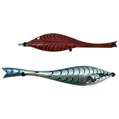Pair of Very Large Murano Blown Glass Fish Wall Mount Sculptures by Alberto Dona