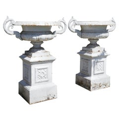 Pair of Very Large Victorian Cast Iron Garden Urns, Garden Planters