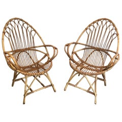Pair of Very Nice Egg Shaped Rattan Armchairs, French, circa 1950