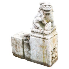 Pair of Very Old Carved Stone Foo Dog Architectural Remnants