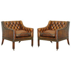 Pair of Very Rare Chesterfield Lutyen's Style Viceroy's Brown Leather Armchairs
