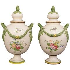 Pair of Very Rare Swedish Signed Marieberg Polychrome Faience Lidded Vases