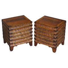 Pair of Very Rare Vintage Hardwood Stacking Books Side Tables Internal Storage