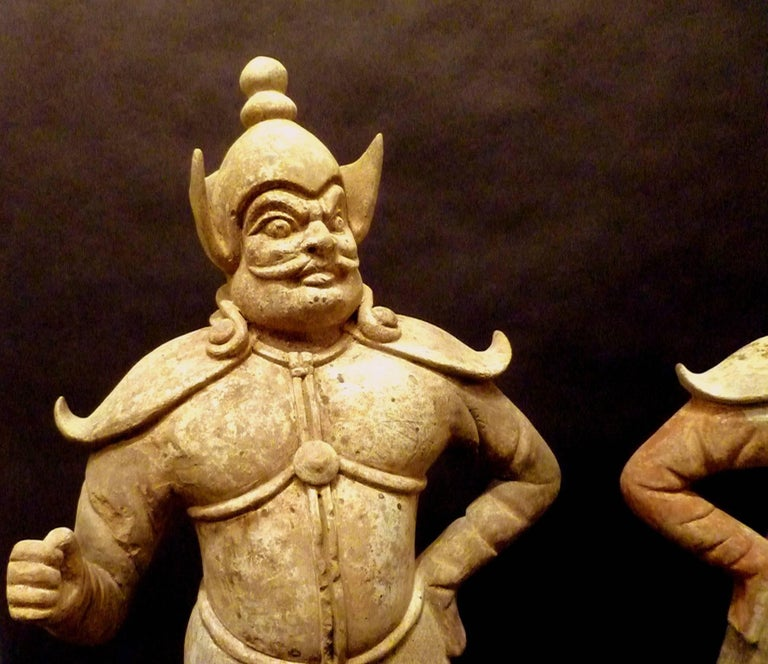 Chinese Pair of Very Refined Tang Dynasty Pottery Statue of Guardians, TL Tested For Sale