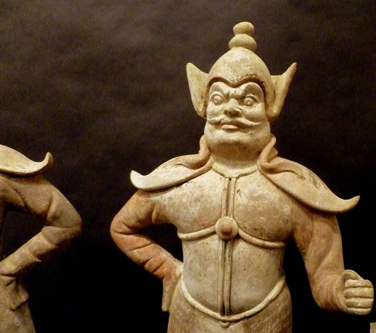Hand-Crafted Pair of Very Refined Tang Dynasty Pottery Statue of Guardians, TL Tested For Sale