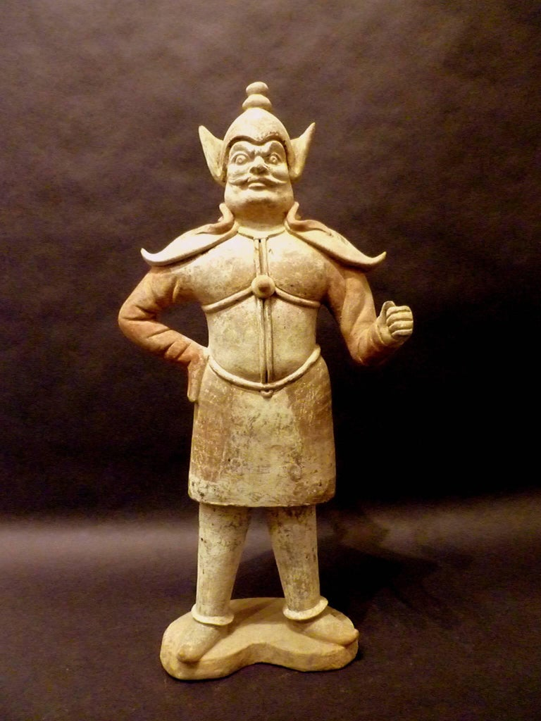 Pair of Very Refined Tang Dynasty Pottery Statue of Guardians, TL Tested In Good Condition For Sale In Greenwich, CT