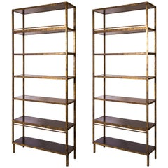 Pair of Very Tall Hand Painted Faux Antique Brass Bookcases with Walnut Shelves