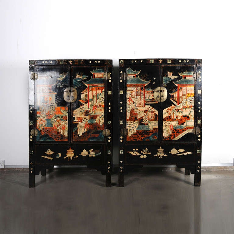 Polychromed Pair of Very Unusual and Rare 18th Century Chinese Qing Dynasty Cabinets For Sale
