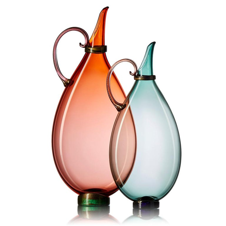 Modern Pair of Vetro Vero Handblown Glass Pitchers, Custom Color Options, Made-to-Order For Sale