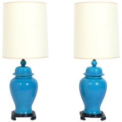 Pair of Vibrant Blue Ginger Jar Lamps
