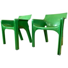 Pair of Vico Magistretti for Artemide Green Gaudi Armchairs, Early 1970s