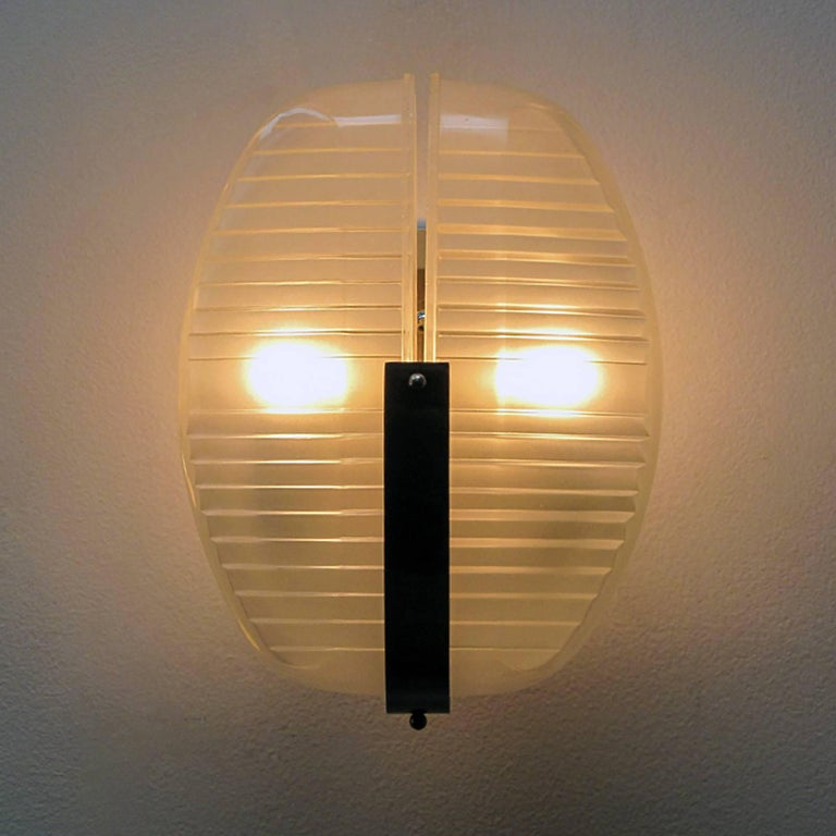 Glass Pair of Vico Magistretti Wall Lights, 1960 For Sale