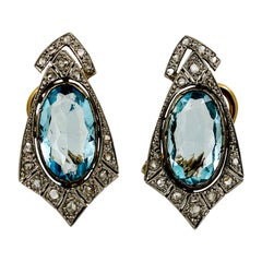 Pair of Victorian 14 Karat Yellow Gold, Silver, Aquamarine, and Diamond Earrings