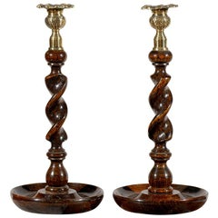 Pair of Victorian 1840s Barley Twist Oak and Brass Candlesticks from Scotland