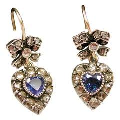 Pair of Victorian 9ct Gold, Heart Shaped Sapphire & Diamond Earrings, Circa 1890