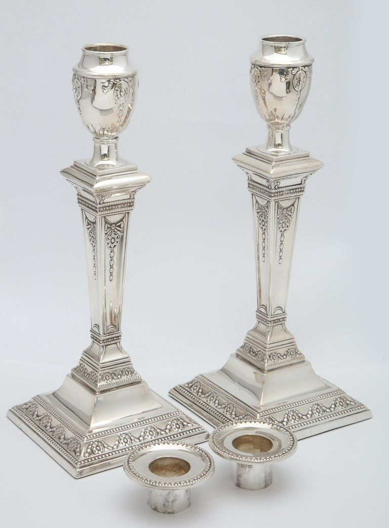 Pair of Victorian Adam-Style Sterling Silver Candlesticks For Sale 4