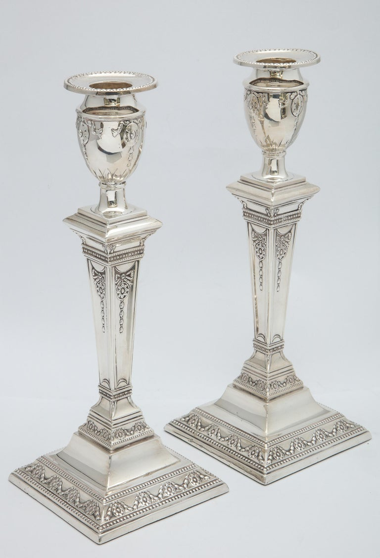 Pair of Victorian Adam-Style Sterling Silver Candlesticks For Sale 6