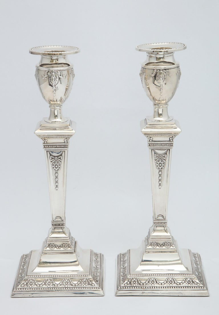 Adam Style Pair of Victorian Adam-Style Sterling Silver Candlesticks For Sale